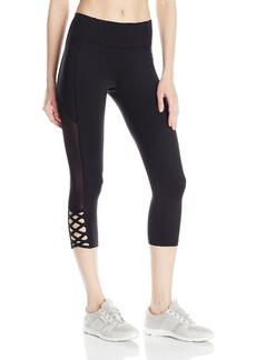 Betsey Johnson Women's Mesh Insert Cutout Crop Legging  M