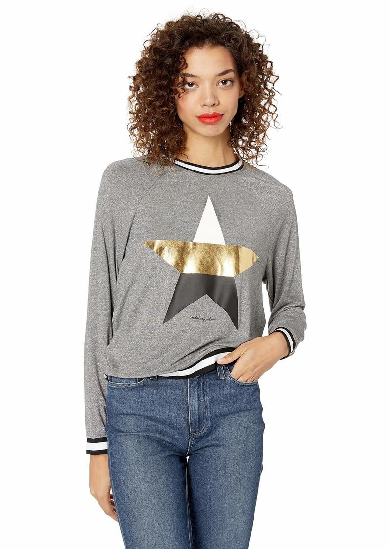 Betsey Johnson Women's Metallic Star Stripe Rib Pullover  Extra Small