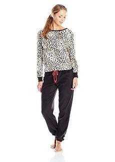 Betsey Johnson Women's Microfleece Slouchy Pajama Set