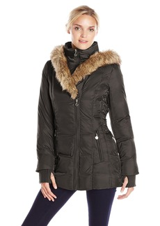 Betsey Johnson Women's Mid ength Puffer Coat with Faux Fur Hood  arge