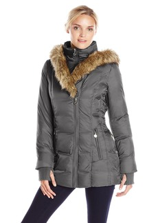 Betsey Johnson Women's Mid Length Puffer Coat with Faux Fur Hood