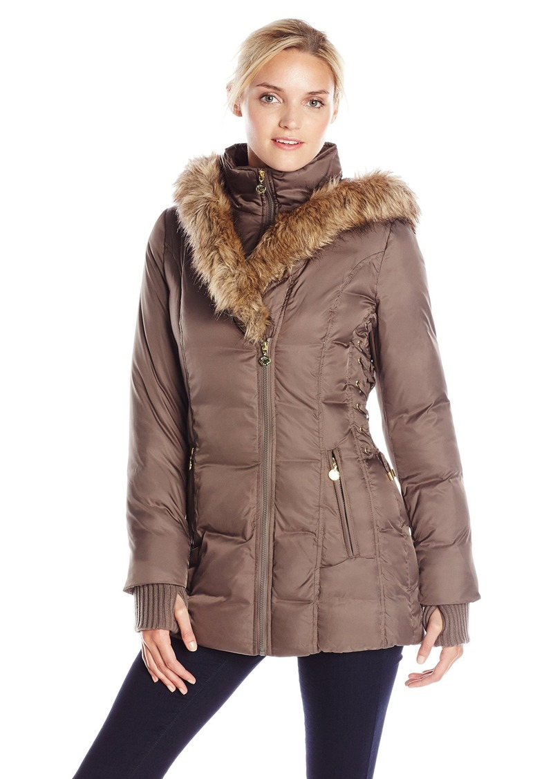 Betsey Johnson Women's Mid Length Puffer Coat with Faux Fur Hood  X-Small