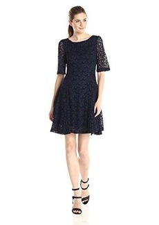 Betsey Johnson Women's Mid Sleeve Flock Lace Fit Flare Dress