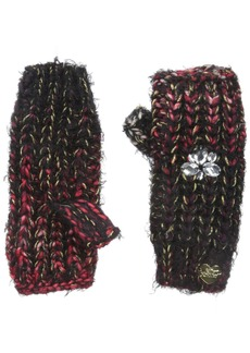 Betsey Johnson Women's Mixed Yarn Knit Fingerless Glove with Jewels