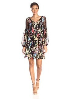 Betsey Johnson Women's New Black Ground Boho Floral with Lace Inset Sleeve