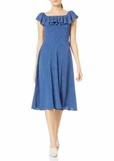 Betsey Johnson Women's Off The Shoulder Ruffle Dot Dress