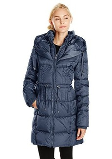 Betsey Johnson Women's Long Puffer Coat with Cinch Waist  mall