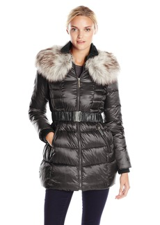 Betsey Johnson Women's ong Puffer Coat with Faux Fur and Belt  arge