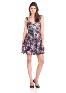 Betsey Johnson Women's Open Back Printed Lace Dress Navy/Multi