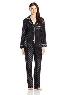 Betsey Johnson Women's Packaged Flannel Pajama Set Hearts and Spades Raven Black