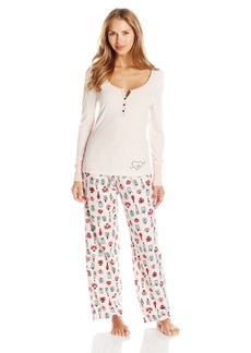 Betsey Johnson Women's Packaged Rib Top with Flannel Pant Pajama Set
