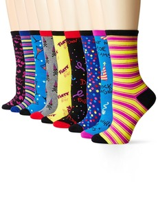 Betsey Johnson Women's Party with Crew Socks Gift Box 9-Pack