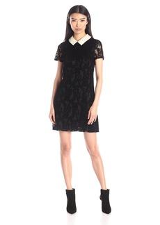 Betsey Johnson Women's Pearl Collar Flock Lace Dress