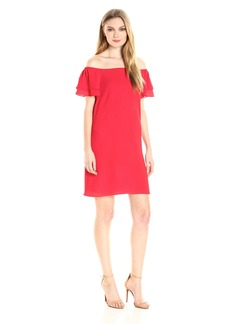 Betsey Johnson Women's Pebble Crepe Off the Should Shift Dress