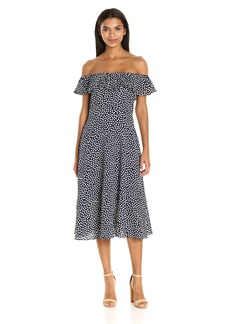 Betsey Johnson Women's Pebble Dot Off The Shoulder Tea Length Dress