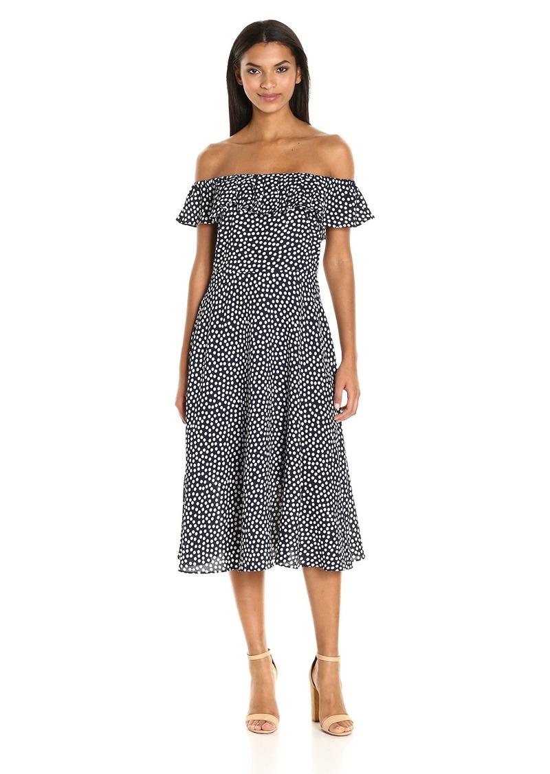 Betsey Johnson Women's Pebble Dot Off The Shoulder Tea Length Dress