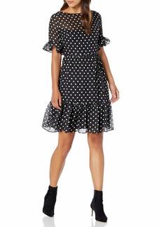 Betsey Johnson Women's Petite Polka Dot A Line Dress  8P