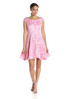 Betsey Johnson Women's Pink Jacquard Cap Sleeve Dress