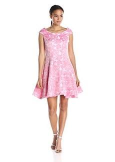 Betsey Johnson Women's Pink Jacquard Cap Sleeve Dress