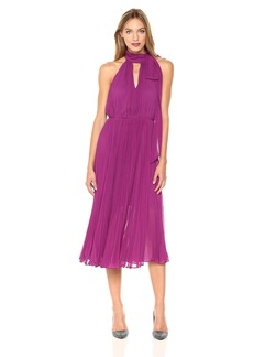 Betsey Johnson Women's Pleated Chiffon Halter Dress