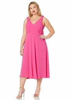 Betsey Johnson Women's Plus-Size Pebble Crepe Dress with Shoulder Ties