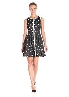 Betsey Johnson Women's Polka Dot Zip Front Dress Black/Ivory