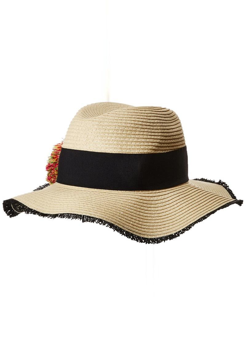 87bf79e1fe39f Betsey Johnson Betsey Johnson Women s Pom Girl Panama Hat one Size ...