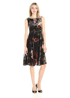 Betsey Johnson Women's Printed Burnout Velvet Tea Length Dress