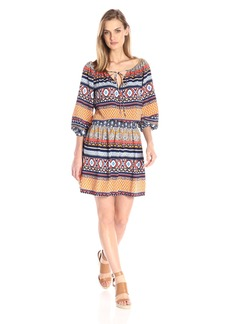 Betsey Johnson Women's Printed Poly Cdc Peasant Dress