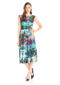 Betsey Johnson Women's Printed Scuba Pleated Dress
