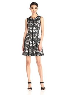 Betsey Johnson Women's Printed Scuba Zip Front Dress Black/Ivory