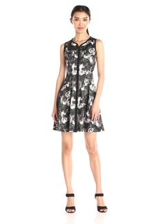 Betsey Johnson Women's Printed Scuba Zip Front Dress Black/Ivory