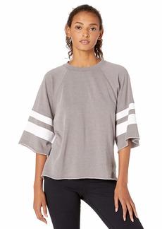 Betsey Johnson Women's Printed Stripe Cutoff Sweatshirt