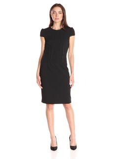 Betsey Johnson Women's Pu Leather Scuba Crepe Dress