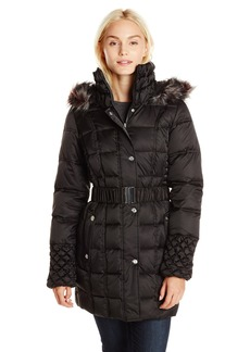 Betsey Johnson Women's Puffer Coat with Faux Fur Hood and Quilted Sleeve  arge
