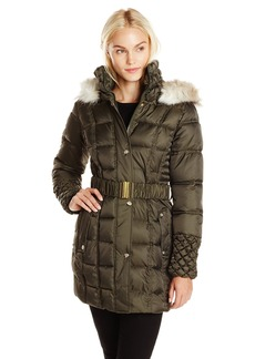 Betsey Johnson Women's Puffer Coat with Faux Fur Hood and Quilted Sleeve  edium