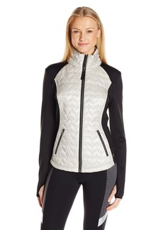 Betsey Johnson Women's Quilted Hybrid Packable Jacket etallic/Silver Combo