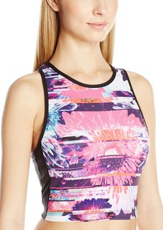 Betsey Johnson Women's Racerfront Printed Colorblock Bra  M