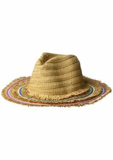 Betsey Johnson Women's Rainbow Panama Hat with Frayed Edge