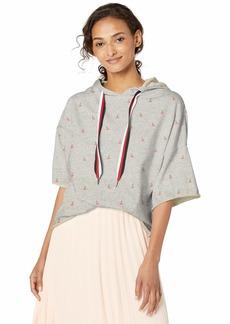 Betsey Johnson Women's RAW Edge Novelty Cropped Sweatshirt Light Heather Grey with Cherries
