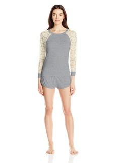 Betsey Johnson Women's Rayon Knit and Lace Short Set