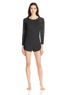 Betsey Johnson Women's Rayon Knit and Lace Short Set