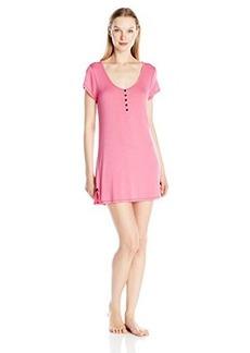 Betsey Johnson Women's Rayon Knit Henley Sleepshirt