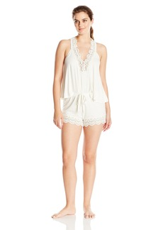 Betsey Johnson Women's Rayon Knit Short Pajama Set with Crochet Lace Trim