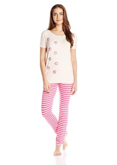 Betsey Johnson Women's Rayon Knit Tee Shirt Pajama Set  Medium