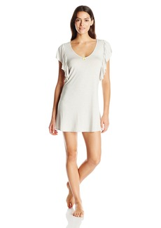 Betsey Johnson Women's Heather Rayon Span Ruffle Sleepshirt