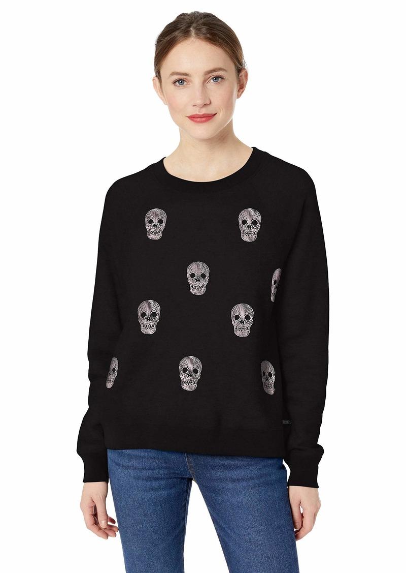 Betsey Johnson Women's Rhinestone Skull Pullover