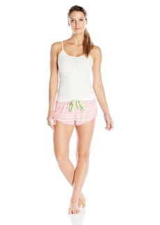 Betsey Johnson Women's Rib Tank and Washed Satin Short Set