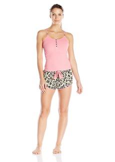 Betsey Johnson Women's Rib Tank and Washed Satin Short Set Disco Leopard Paradise Green/Pink Cheeks