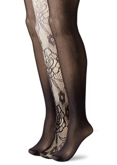 Betsey Johnson Women's Rose Ombre Tights 3-Pack Black/Grey/Black Medium/Large